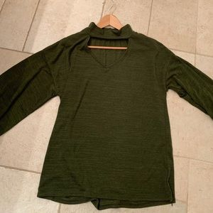 Olive Green Open Mock-Neck Sweater